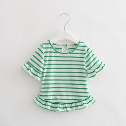 Fashion For Short Girls NZ - Summer Baby T Shirts For Girls Cotton Short Sleeve Brand Tees Child Striped Short Dress Girl T-shirt Kids Minion Cute Tops Tee