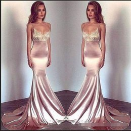 Blush pink sequin evening dresses online shopping - Blush Pink Spaghetti Straps Mermaid Prom Dresses Vintage Lace Silk Stain Party Wear Sexy Evening Dresses Formal Gowns Custom