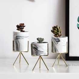 $enCountryForm.capitalKeyWord Australia - pcs Ceramic Planters Marbled Design Flower Plants Pots with Iron Stands Flower Vase Home Garden Table Wedding Decoration Gift 3pcs Cerami...