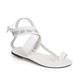 c38c727b4b4c Ethnic Style Faux Leather Flat Toe Sandals Roman Flip Flops Beach Flat  Shoes Gladiator Sandals Peep Toe
