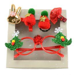 Checkered Hats Australia - New Children's Santa Claus Headdress 5pcs lot Headwear Set For Kids Xmas Gift Xmas Tree Hat Glasses Hairband Hairpins Gift Boxed