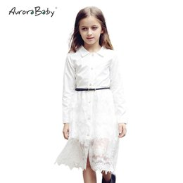 big teenager clothes UK - Little Big Girls White Lace Midi Blouse Shirt Dress Long Sleeve Button Solid Free Belt 2019 Summer 6-14y Teenager Kids Clothes Y19061801