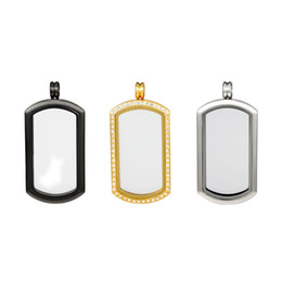 wholesale cabochon frame UK - New Design Stainless Steel Rectangle Cabochon Base Charms Glass Blank Photo frame Charms Pendant Setting Trays Diy Necklace Jewelry Makings