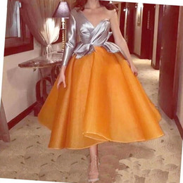 $enCountryForm.capitalKeyWord Australia - Elegant Cocktail Dresses 2019 Orange Puffy Tea-Length Pageant Party Gown Organza Skirt Homecoming Dresses One Shoulder Party Dresses