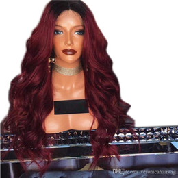 Body Charms Australia - Charming 180% Side Part Long Body Wave Dark Roots Ombre 99J Red Wigs Heat Resistant Hair Synthetic Lace Front Wigs with Baby Hair