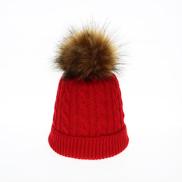 $enCountryForm.capitalKeyWord UK - Kid Faux Fur Pom Pom Hat Winter Beanie Warm Gilrs Hats Children Skullies Beanies Knitted Caps Boys Woolen Knit Cap Ears Protect