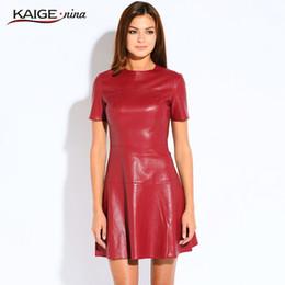 Red Leather Dresses Australia - Hot Sale Women Fashion Leather A-line O-neck Black Casual Mini Short Sleeve Sexy Autumn Vestidos Pu Dress 2153 J190601