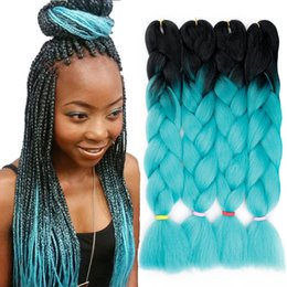 jumbo box braiding hair Australia - Two Color Ombre Kanekalon Synthetic Braiding Jumbo Braid Hair Extensions 24 Inch 100g pack Xpression Braiding Hair Crochet Box Braids