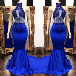 Halter HigH neck satin dress online shopping - Popular Royal Blue High Neck Prom Dresses Real Photos Mermaid See Through Beads Sequins Top Satin Long Evening Gowns BC0798