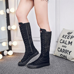 $enCountryForm.capitalKeyWord NZ - Ladies Shoes Autumn Fahion Canvas Shoes Women Lace Embroidery Knee High Boots Side Zipper Motorcycle Boots Plus Size 35-43