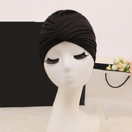 $enCountryForm.capitalKeyWord Australia - 2019 Black Swimming Caps Long Hair Swim Cap Pleated Cloth Fabric Bathing Hats Lycra Beanie Hat for Adult Women Beach Caps