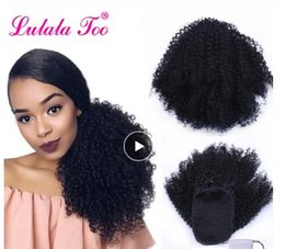 Discount kinky curly clip hair - Drawstring Afro Puff Kinky Curly Ponytail Synthetic Hair Bun Chignon Hairpiece For Women Updo Clip in Hair Extension