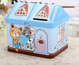 house iron box Australia - Children Gifts Small House Iron Jar With A Lock Piggy Bank Money-box Students Prizes Metal Simulation Cash Register Unisex
