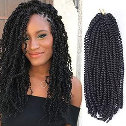 "Twist Hair Braiding Styles Australia - New Style! 5Pcs Long Spring Twist 16 Inch Fluffy Twist Crochet Braids Synthetic Braiding Hair Extensions Low Temperature Fiber (16"", 1B#)"