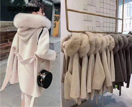 Wholesale large fashion coats for sale – winter Korean Version Long Cashmere Coat With Real Fox Fur Trim Hoodie Warm Thicken Large Pockets Coat female Women Outwear Winter Coat T191023