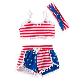 Girls Tassel Shirt Australia - Toddler Kids Girls Suits with Hairbands Child Girls Outfits Watermelon US Flag Ruffled Sleeveless Belt Tops Independence Day Bloomers 1-4T