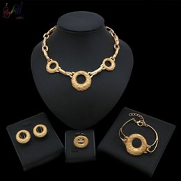$enCountryForm.capitalKeyWord Australia - Yulaili New Arrival Dubai Gold Color Jewelry Set Arabic Wedding Designs Wholesale Necklace Bracelet Earrings Ring Jewellery Set