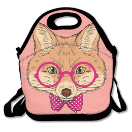 Fox Grey Australia - SAMCUSTOM 3D Print Fox wearing glasses Lunch Bags Insulated Waterproof Girl Packages men and women Kids Babys Boys Handbags