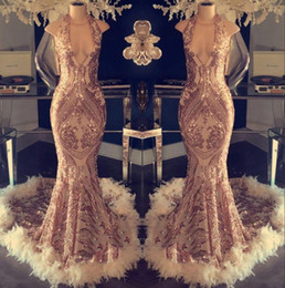 Halter mermaid evening gowns online shopping - 2019 Luxury Halter Feather Mermaid Evening Dresses Sequins Lace Top Formal Prom Dresses Formal Party Celebrity Gowns BC1048