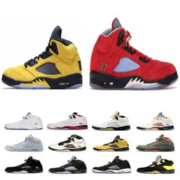 hockey trophies Canada - Top Fashion Michigan Inspire Trophy Room 5s Ice Blue Men Basketball Shoes 5 Laney Yellow Bred Red Suede Metallic Black Sports Sneakers