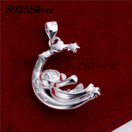 $enCountryForm.capitalKeyWord NZ - HOPEARL Jewelry Little Monkey Playing on the Moon Pendant 925 Sterling Silver Pearl Findings DIY Semi Mountings