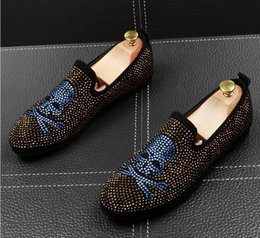 $enCountryForm.capitalKeyWord Australia - Gold Rhinestone Crystal Loafers Men Slippers Shark tooth pendant Male's Flat for Wedding Dress Moccasins Casual Shoes