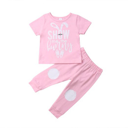 f0cbf19f4 Pudcoco 2019 Summer Pink Toddler Baby Girl Easter Clothes Short Sleeve Bunny  T-Shirt Top+Leggings Outfit Casual Set