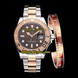 Suit watch online shopping - Cheap New Brown Dial Asian Automatic Mens Watch Two Tone Rose Gold Bezel Steel Band With Free Bracelet High Quality Wathes Suit