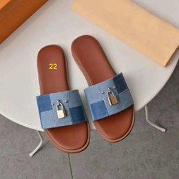 $enCountryForm.capitalKeyWord Australia - women designer sandal lock it flat mule luxury Slippers Genuine leather designer slides Summer Flat Flip Flops Large size US 4-11 with box
