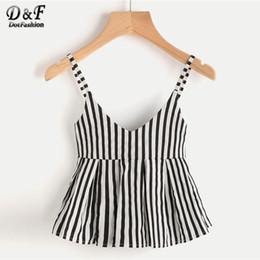 de3f63da3e29eb Dotfashion V Neckline Vertical Striped Babydoll Cami Top Ruffle Hem Striped  Vest Women Casual Slim Fit Peplum Camisole Q190426