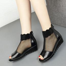$enCountryForm.capitalKeyWord NZ - women wedge sandals real genuine leather zipper zip peep toe breathable 4cm kitten heel cowhide summer shoes ladies female casual footwear