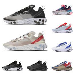 Ingrosso Nike React Element 87 55 Undercover scarpe da corsa per uomo donna bianco nero NEPTUNE GREEN blu uomo scarpe da ginnastica traspirante sportivo