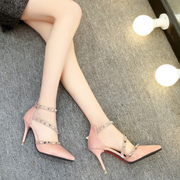 $enCountryForm.capitalKeyWord Australia - Fairy2019 High-heeled Summer Woman Sandals Rivet Fine With Shallow Mouth Patent Leather One Buckle Bring Wedding Shoes