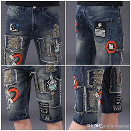 knee patches NZ - mens designer summer shorts biker diesel men jeans for men ripped jeans knee length designer shorts rock revival jeans