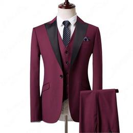 $enCountryForm.capitalKeyWord UK - Three Piece Wine Evening Party Men Suits Peak Lapel Trim Fit Custom Made Wedding Tuxedos (Jacket + Pants + Vest+Tie)W:126