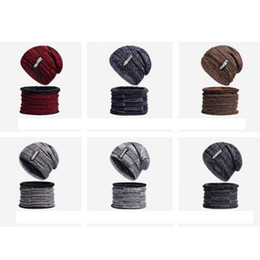 BaseBall cap letters online shopping - Autumn And Winter Keep Warm Hat Men Cashmere Letter Knitted Cap Collar Two Piece Suit Pure Color Beanies ZZA896