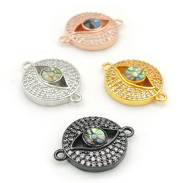 $enCountryForm.capitalKeyWord Australia - 18*14*3mm Micro Pave Clear CZ Gridding Abalone Shell Evil Eye Round Connectors Fit For Making Bracelets Jewelry