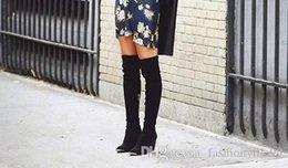 $enCountryForm.capitalKeyWord Australia - vogue choices! b067 black genuine leather gold metal pointy wedge stretch thigh high boots