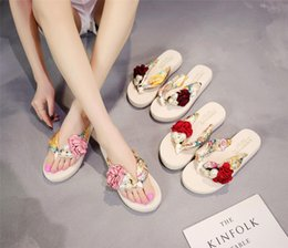 Wedges Shoes For Girls Australia - MoneRffi Bohemia Floral Beach Sandals Wedge Platform Thongs Slippers Flip Flops Suummer Shose With Pearl Rose For Girls Shoes