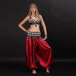 coined clothes NZ - Crazy2019 Pop Size S-XL Belly Dancing Clothes Tribal 2pcs Set Coins Bra, Tassel Hip Scarf Tribal Belly Dance Costume Set Pants Costume