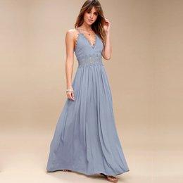 $enCountryForm.capitalKeyWord NZ - Strap Backless Long Dress Women Hollow Evening Summer Beach Dress Party Sexy Blue Maxi Dresses Vestidos Sundress designer clothes