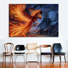 Art Canvas Prints Australia - 1 Piece Golden Phoenix Animal Painting Bird Wall Art Print Posters Modern Canvas Prints For Living Room Cuadros Decoration No Frame