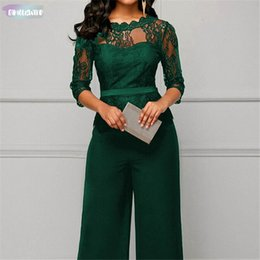 Wholesale half jumpsuit resale online – Women Fashion Plus Size Jumpsuit Hot Sale Loose Solid Color Playsuit Party Half Romper Lace Sleeve Lace Party Elegant Jumpsuit