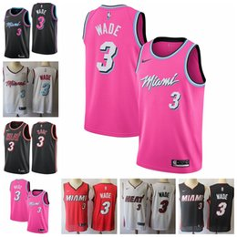 2019 Herren 3 Dwyane Wade Miami Trikots Heat Basketball Trikots New The City Edition Weiß Schwarz Rot Dwyane Wade Trikots 100% genäht