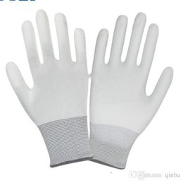 Nylon Coating Australia - Nylon Pu Coated Palm Gloves White Dust-free Electronic Factory Workshop Anti-static Coating Rubber Labor Insurance Gloves Wholesale
