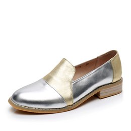 203fb1ca9bb7c Vintage brogues online shopping - Women genuine leather brogue oxford shoes  woman silver simple handmade vintage