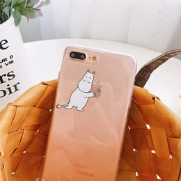 Discount moomin case WTSZKL cartoon Moomin mobile phone case for iphone X Xs small fresh hippo TPU soft shell for iphone 8 7 plus