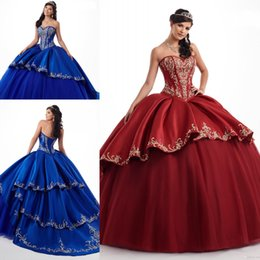 $enCountryForm.capitalKeyWord Australia - Amazing Royal Blue Burgundy 2019 Quinceanera Prom dresses With Gold Embroideried Sweetheart Ball Gown Evening Party Sweet 16 dress