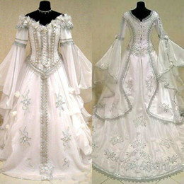 Victorian dresses yellow online shopping - Medieval Wedding Dresses Witch Celtic Tudor Renaissance Costume Victorian Gothic Off The Shoulder Long Sleeve Wedding Dress Bridal Gowns