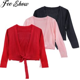 $enCountryForm.capitalKeyWord Australia - 3-12Y Winter Fall Long Sleeves Bolero Jacket Shrug Short Cardigan Sweater for Weeding Dance Ballet Dress Cover Up Pink Black